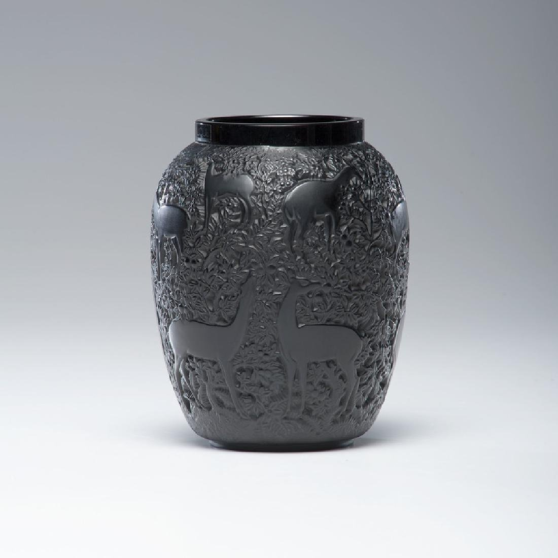 Lalique Black Crystal Biches Vase