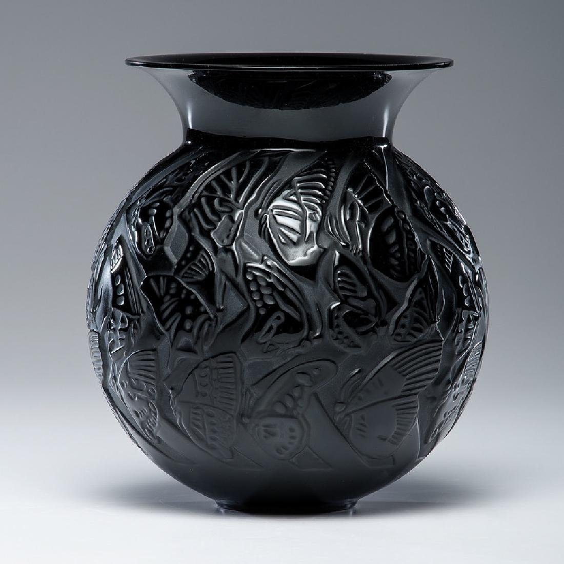 Lalique Black Crystal Butterfly Vase
