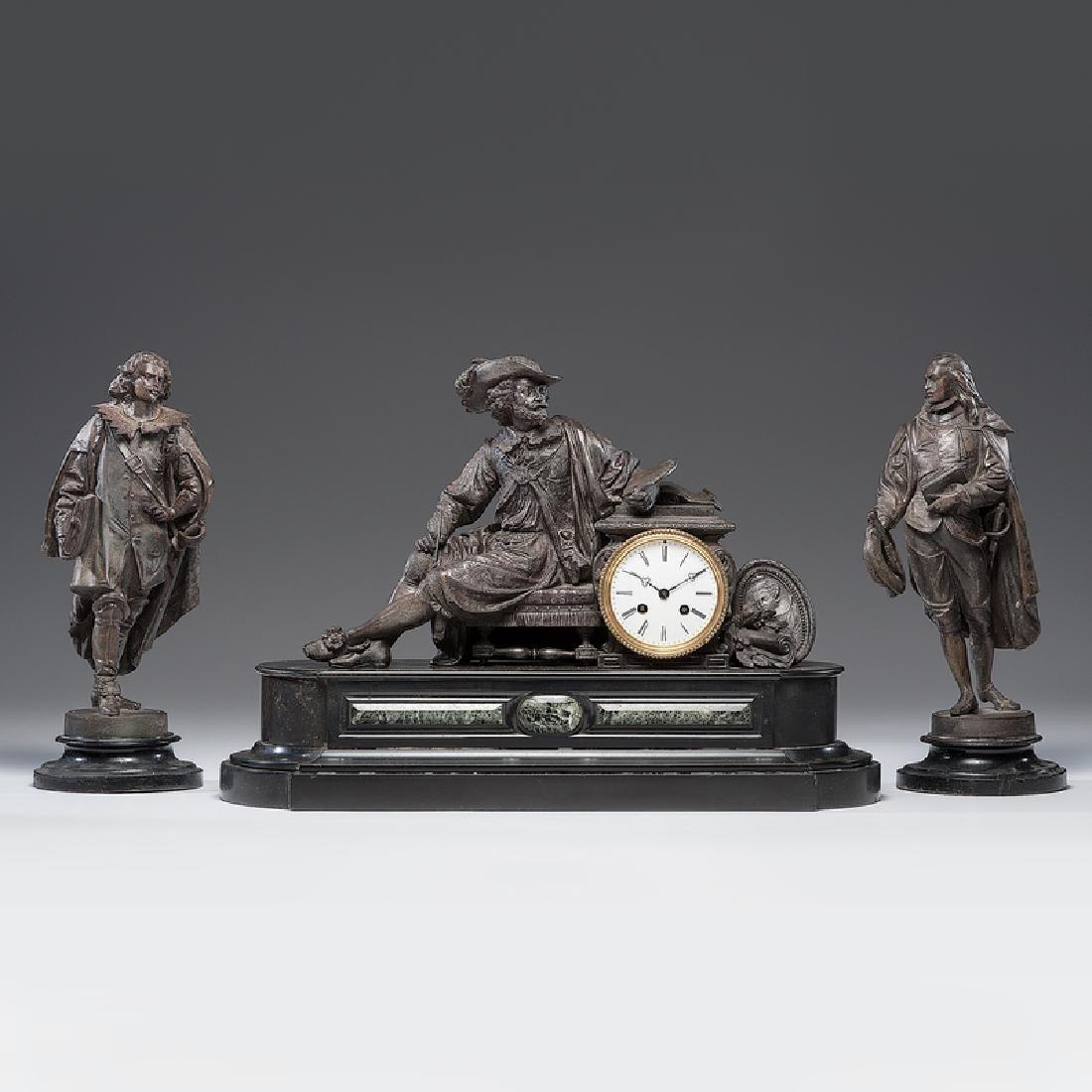 O. Berger Paris Mantel Clock Garniture