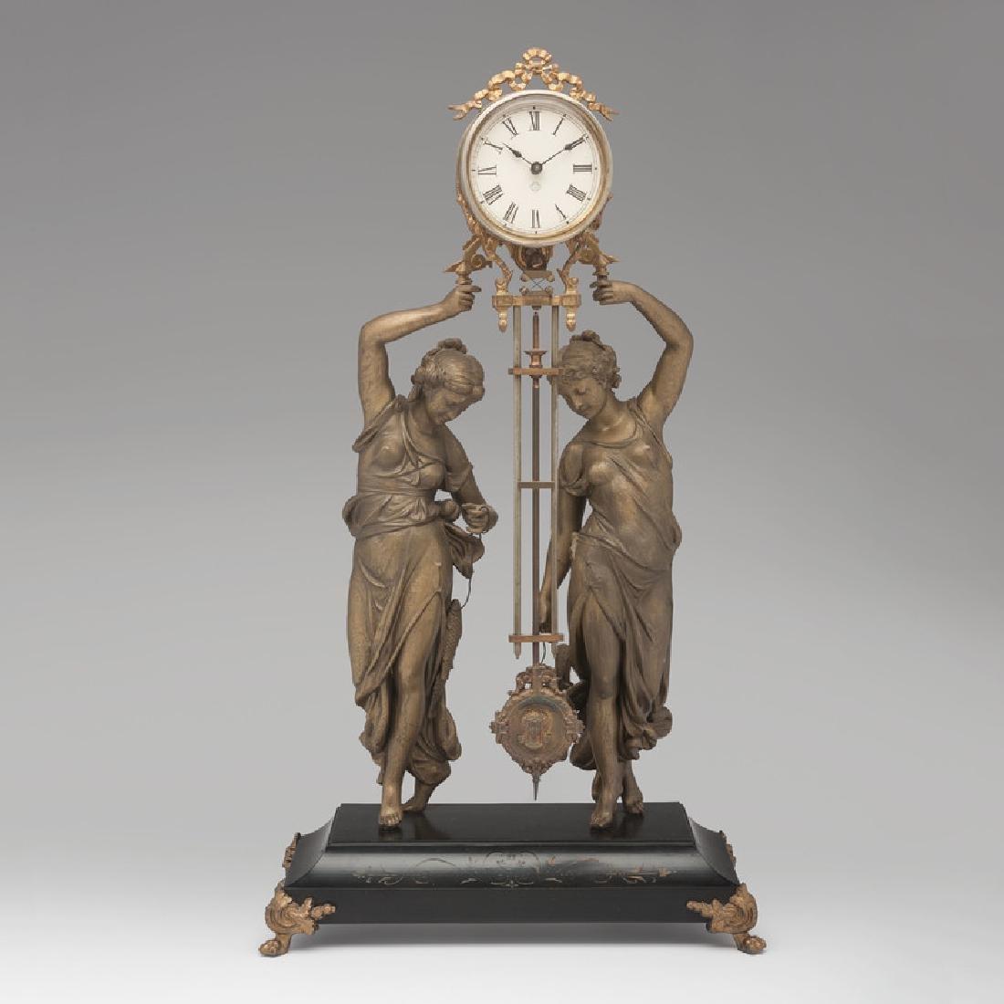Rare Ansonia Swing Clock, Huntress & Fisher