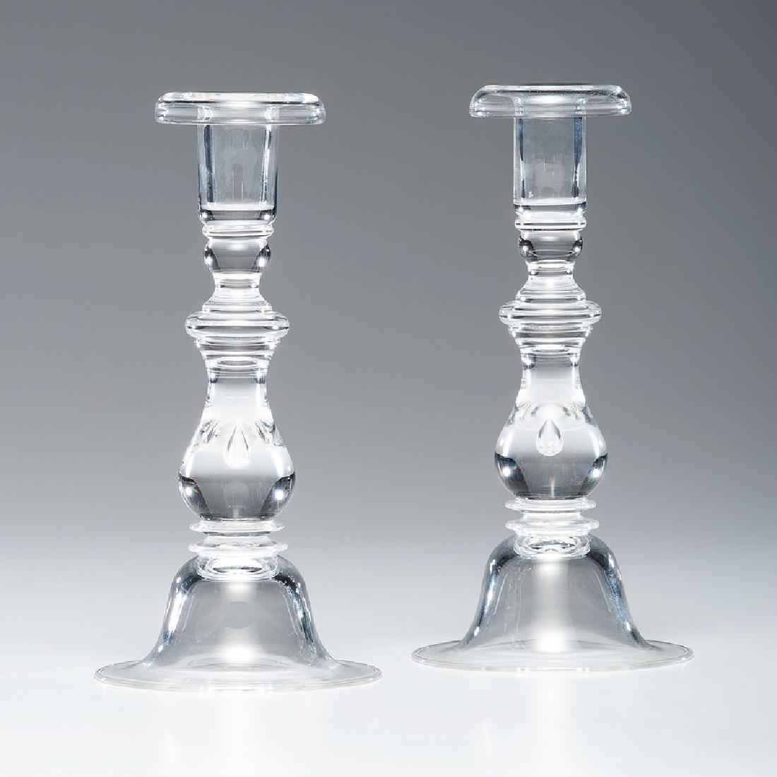 Steuben Crystal Teardrop Candlesticks