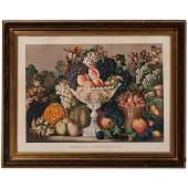 American Autumn Fruits HandColored Lithograph by