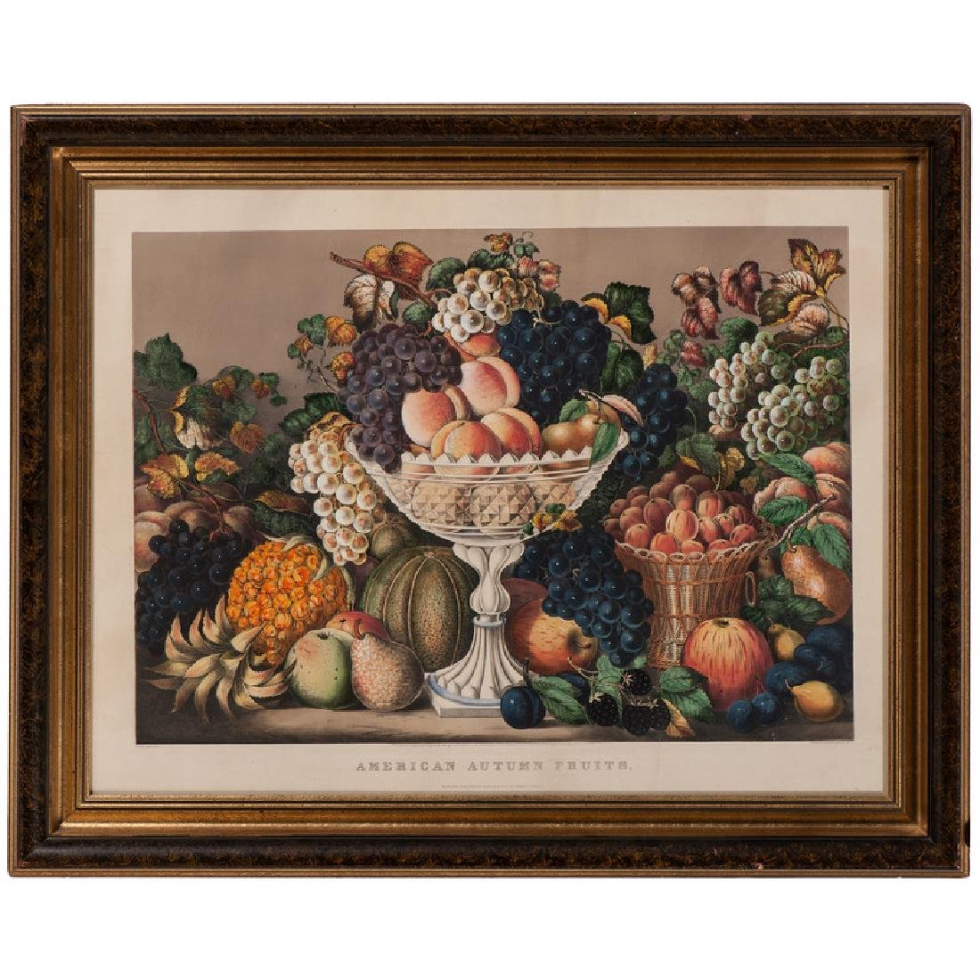 American Autumn Fruits Hand-Colored Lithograph by
