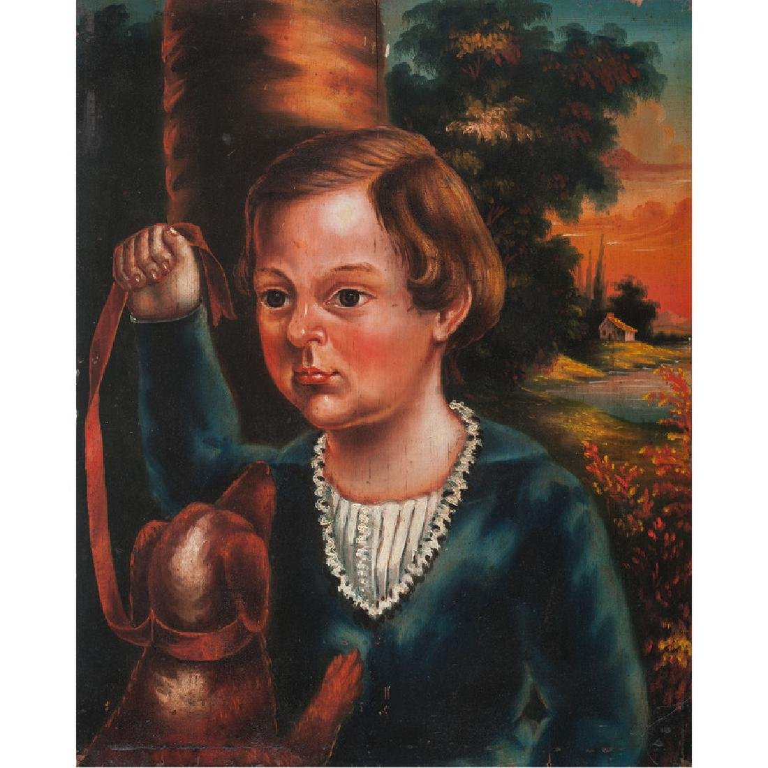 Folk Art Portrait of a Boy with Dog