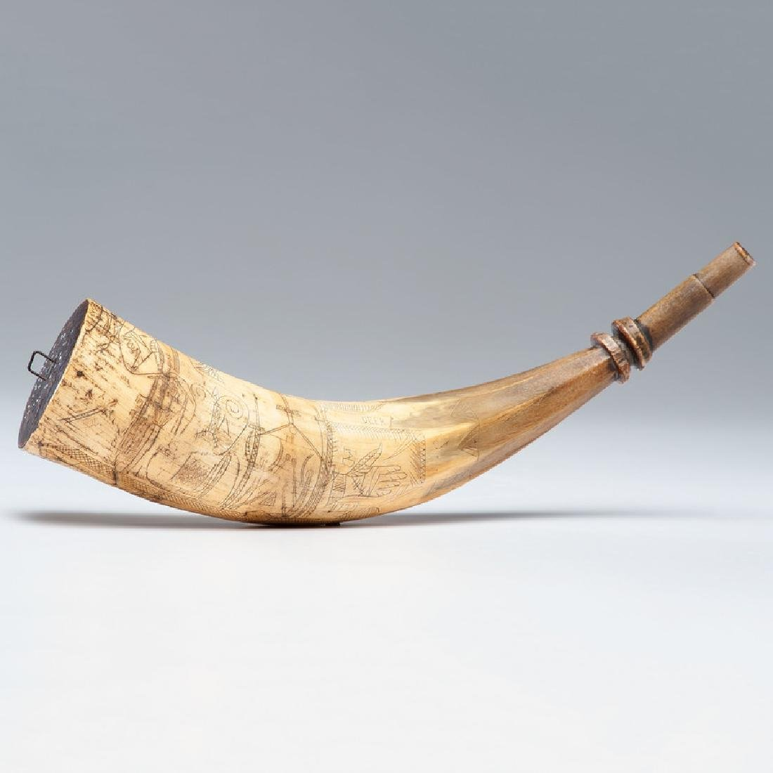 1770 Folk Art Carved Powder Horn