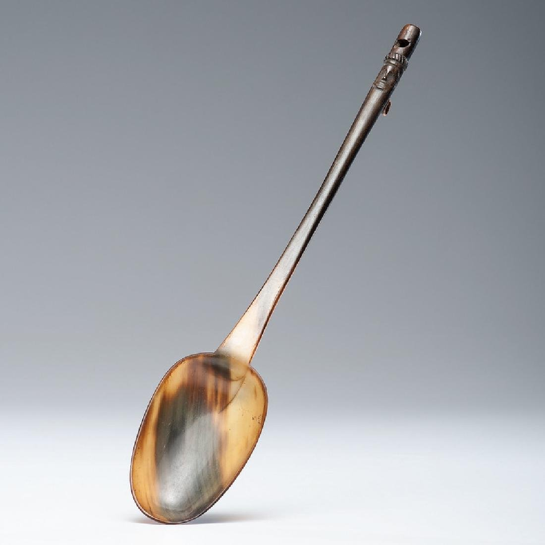 Horn Spoon with Figural Handle