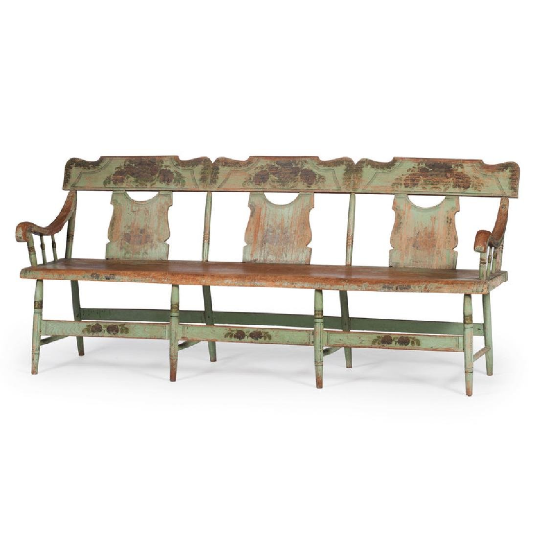 Painted Pennsylvania Settle Bench