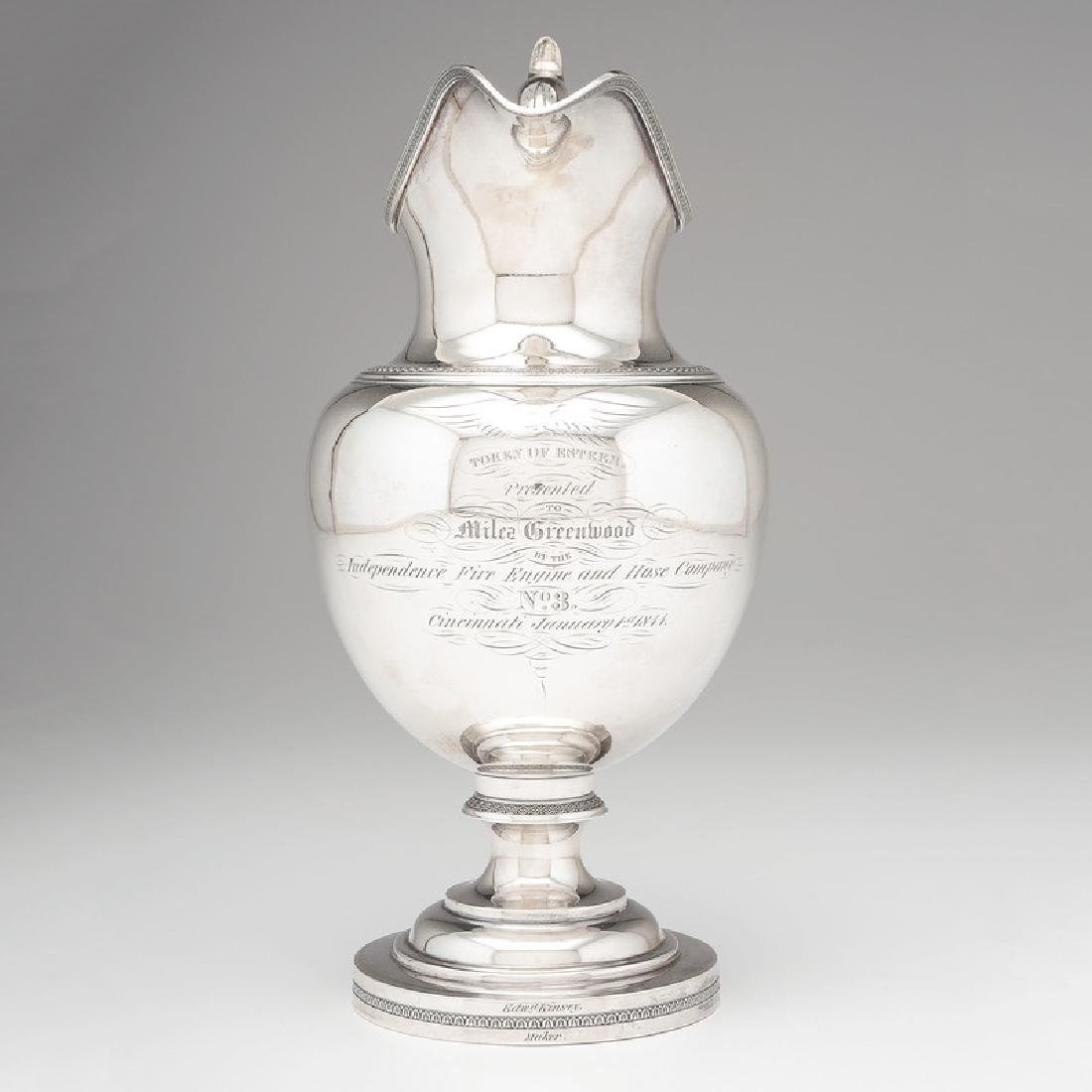 Edward Kinsey Coin Silver Pitcher, Presented to Miles