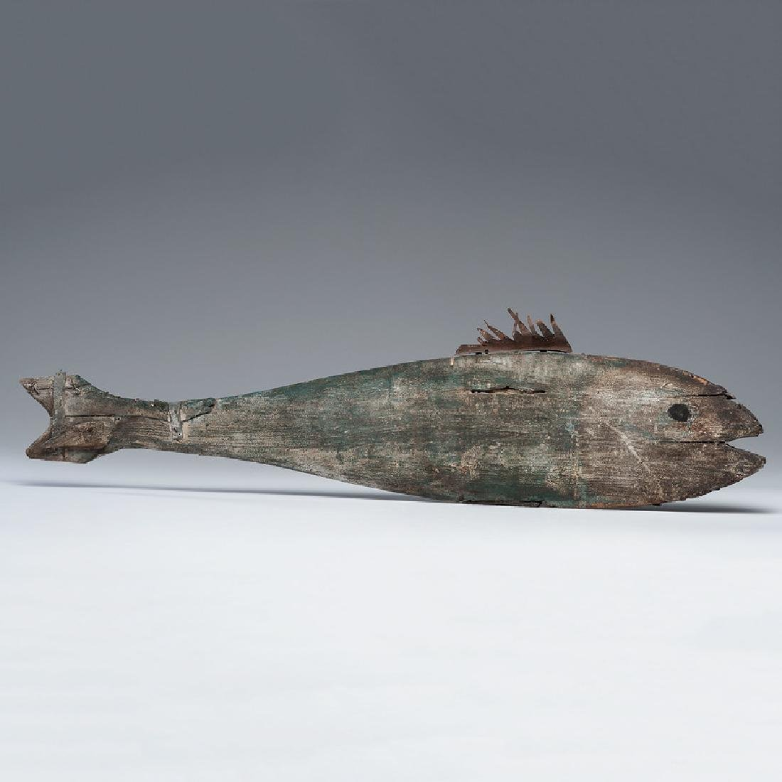 Wooden Fish Weathervane with Old Paint