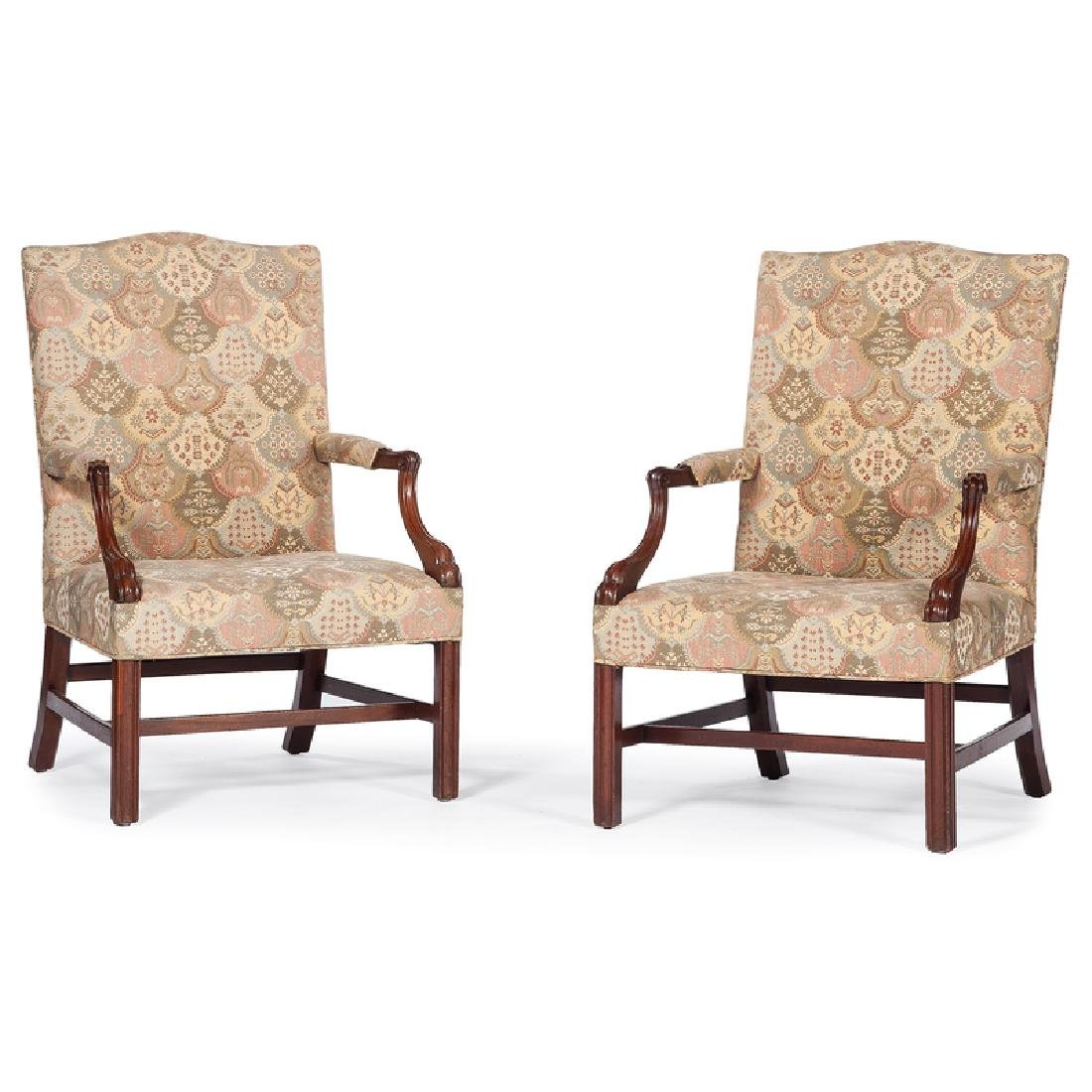 Pair of Chippendale Upholstered Armchairs