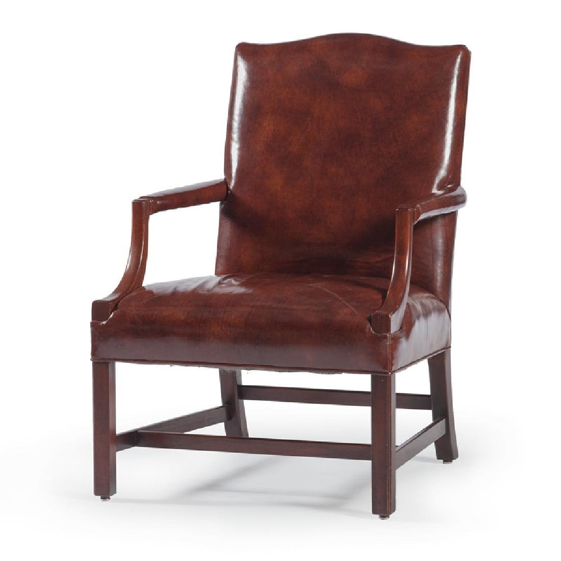 Chippendale-style Leather Armchair