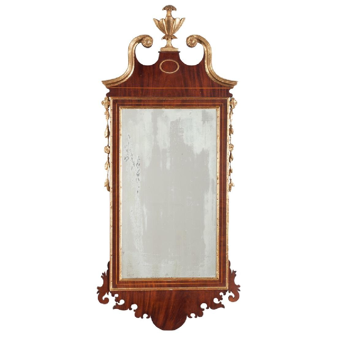 Federal Inlaid and Parcel-Gilt Mahogany Mirror