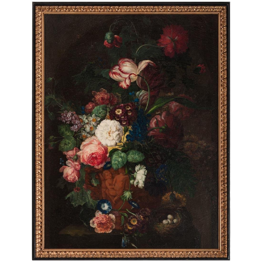 Still Life with Flower Bouquet and Bird Nest