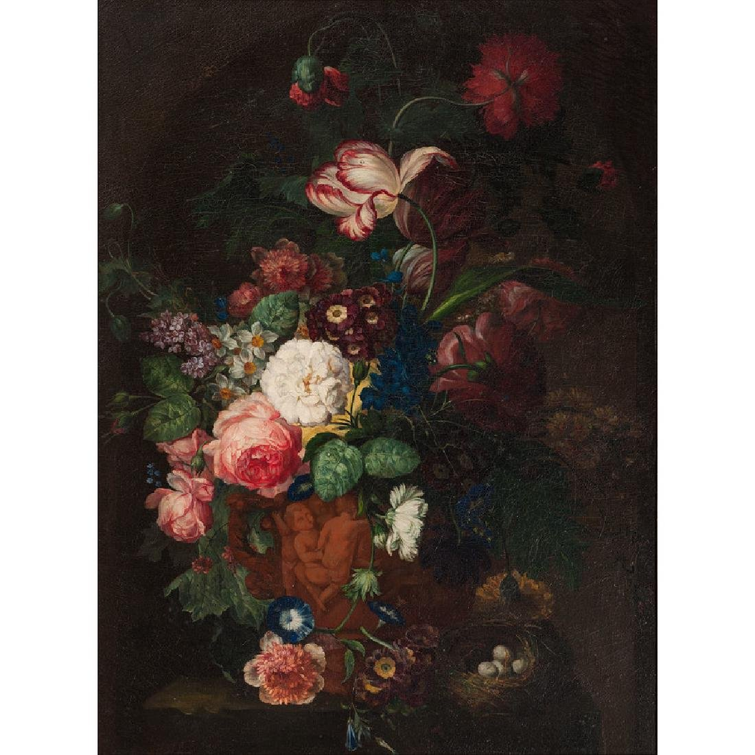 Still Life with Flower Bouquet and Bird Nest - 2