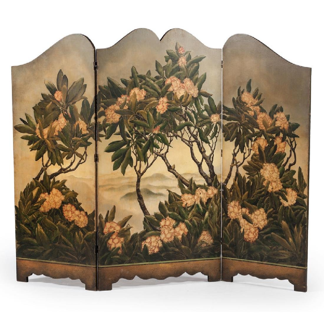 Wooden Three-Panel Screen Decorated by George Parker