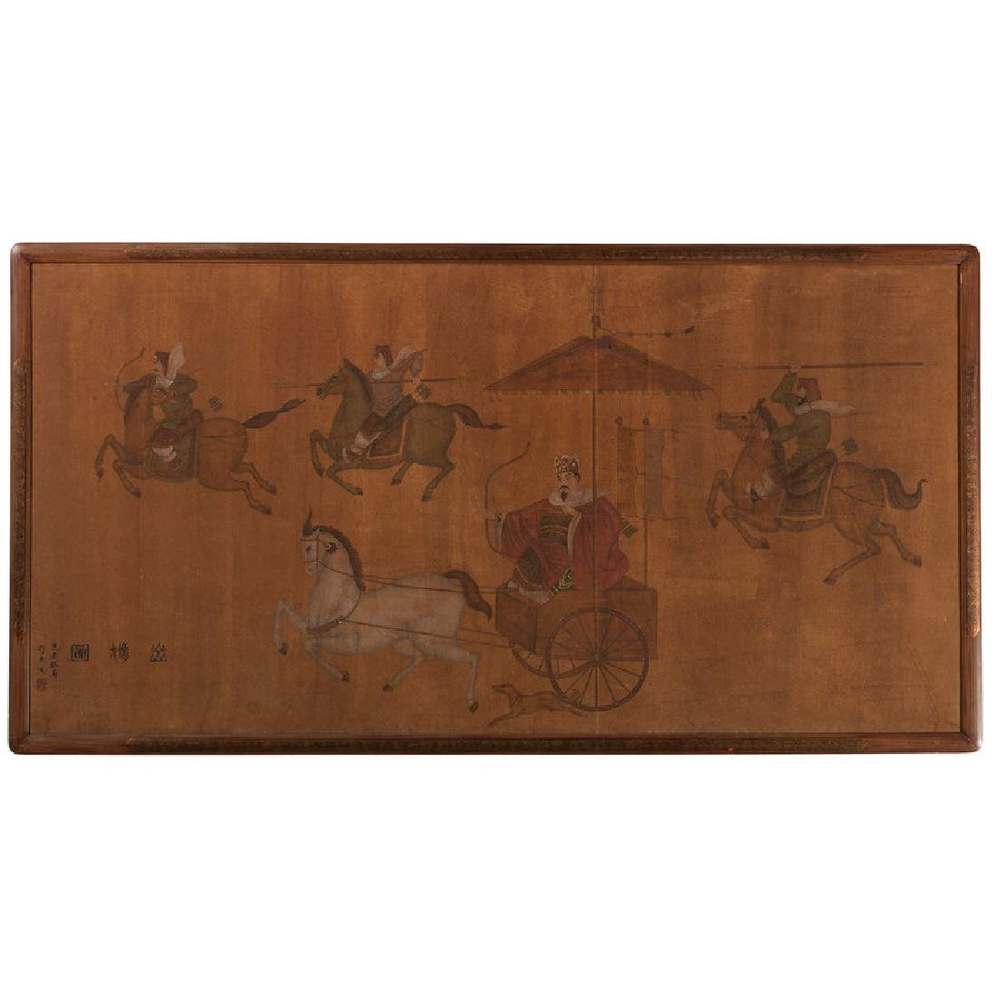Chinese Painting on Silk With Warriors
