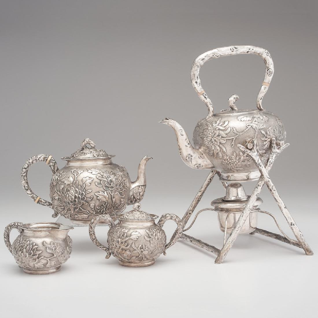 Chinese Export Silver Tea Service, Caddy and Shaker by