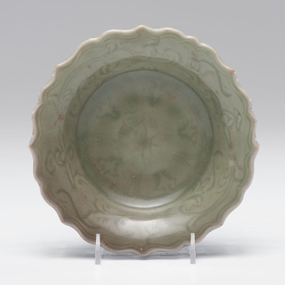 Celadon Plate with Scalloped Edge