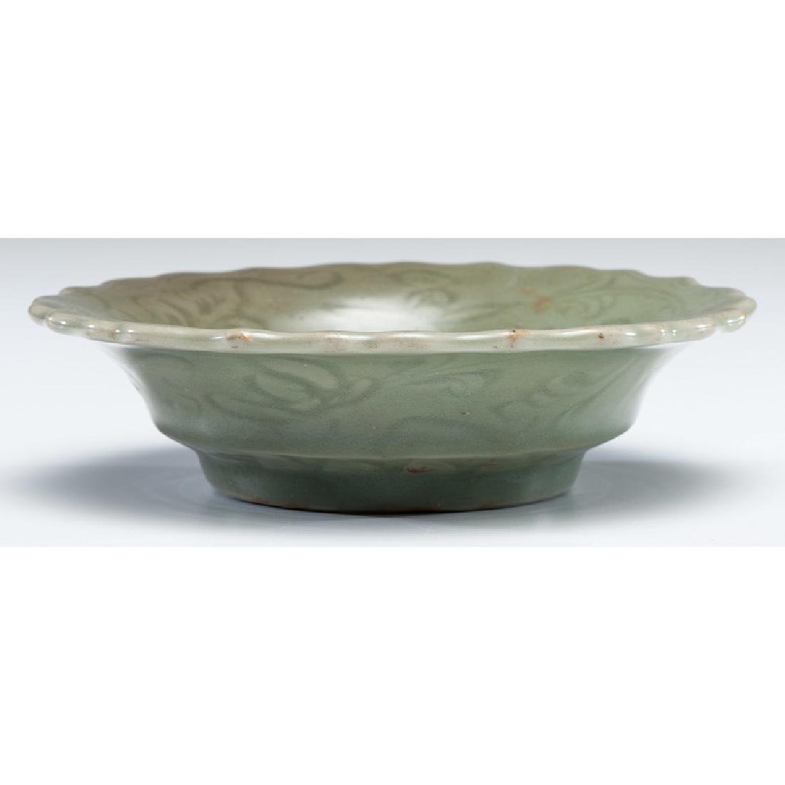 Celadon Plate with Scalloped Edge - 2