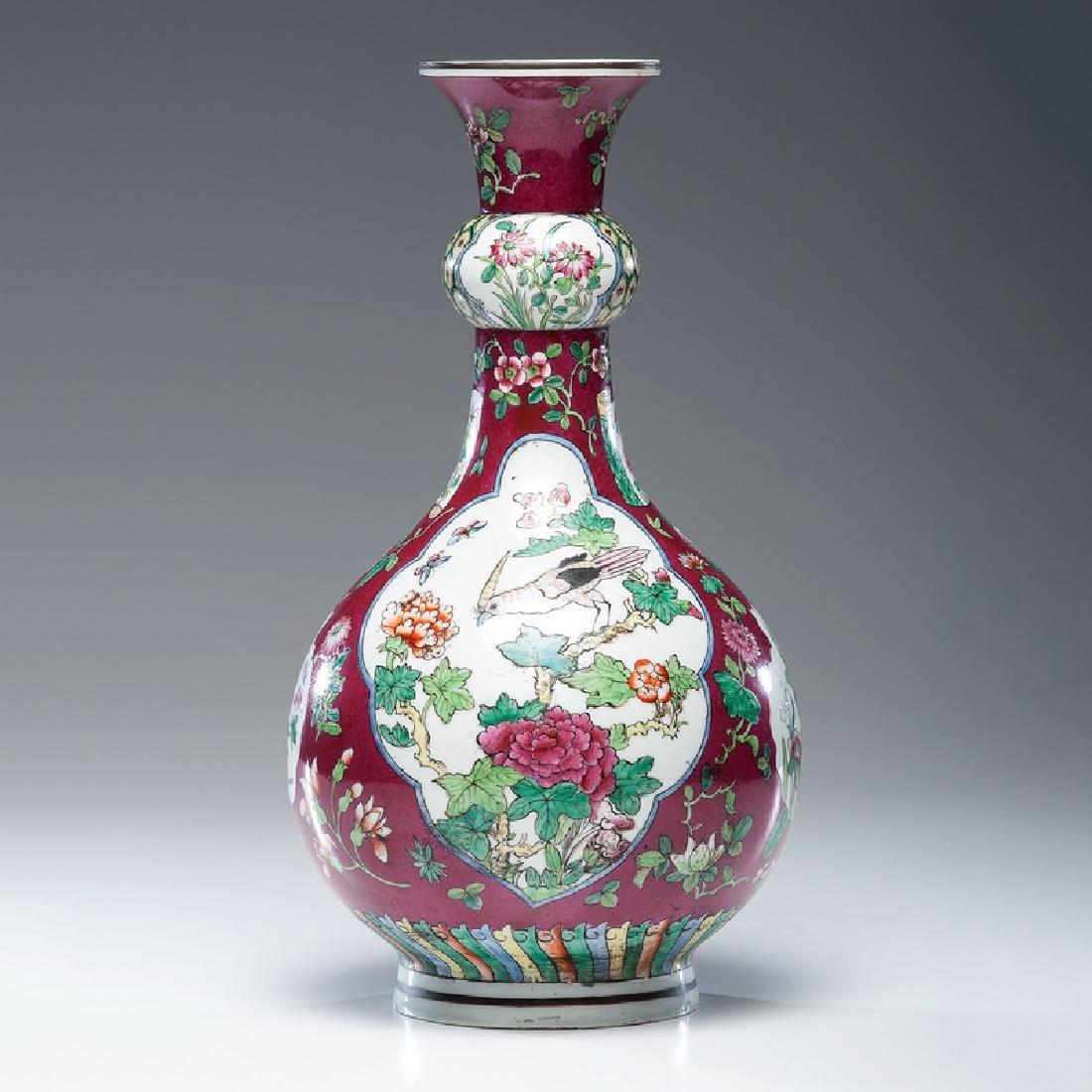 Chinese Porcelain Vase with Floral and Bird Reserves