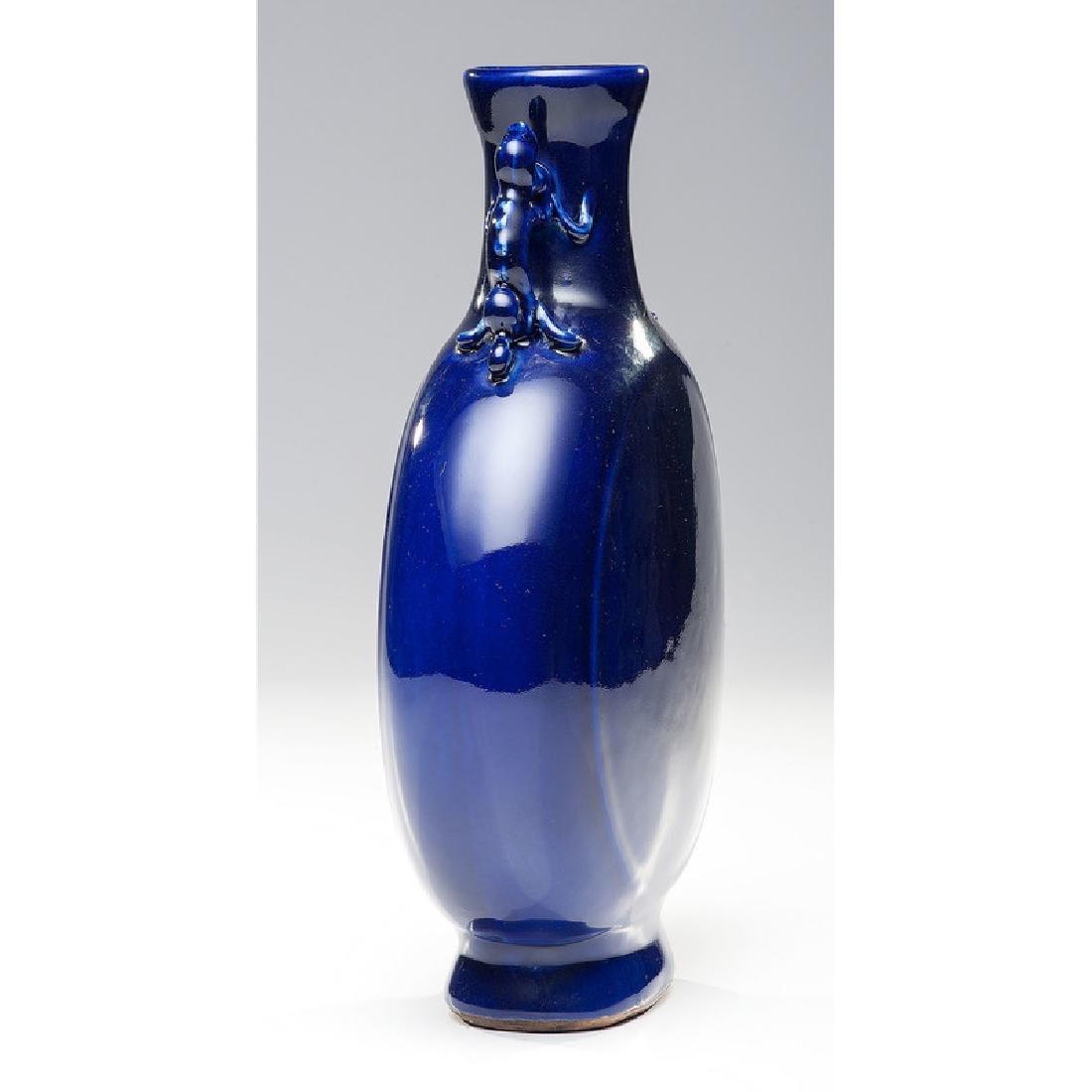Chinese Porcelain Blue Flask Form Vase - 4