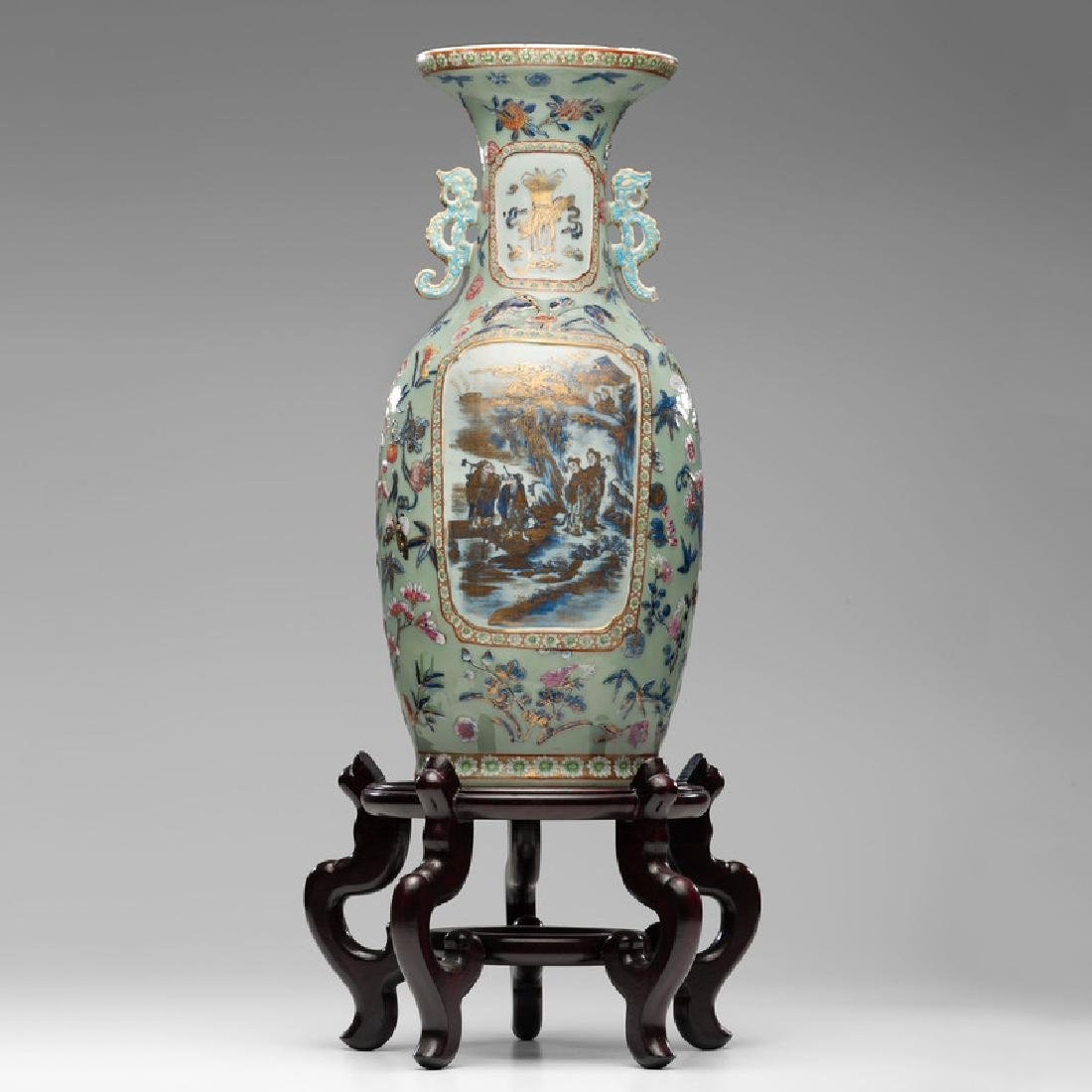 Chinese Polychrome Parcel-Gilt Vase