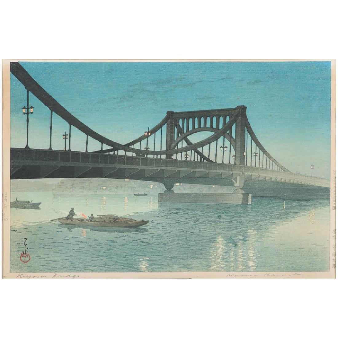 Kiyosu Bridge Woodblock by Kawase Hasui