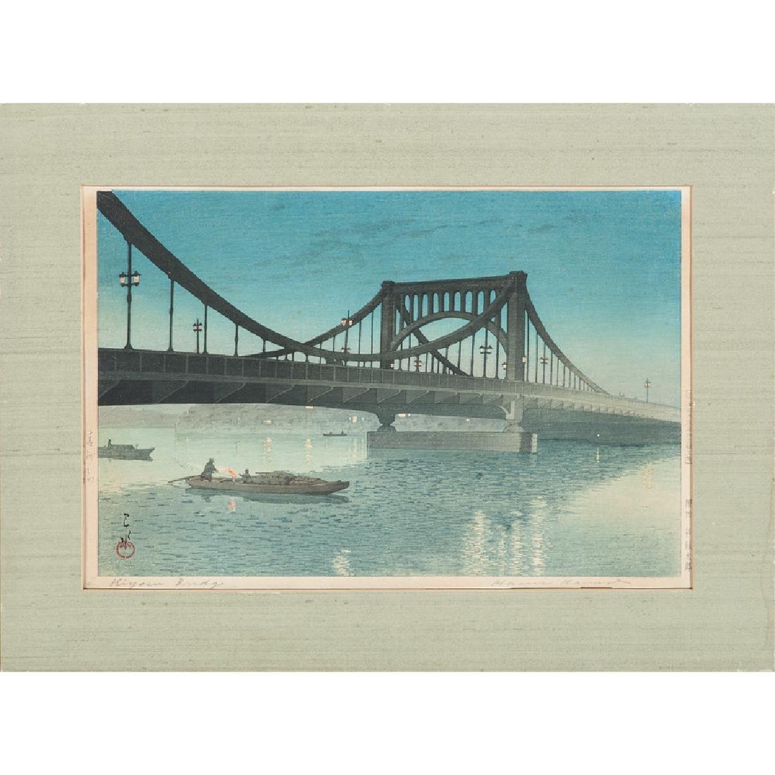 Kiyosu Bridge Woodblock by Kawase Hasui - 2