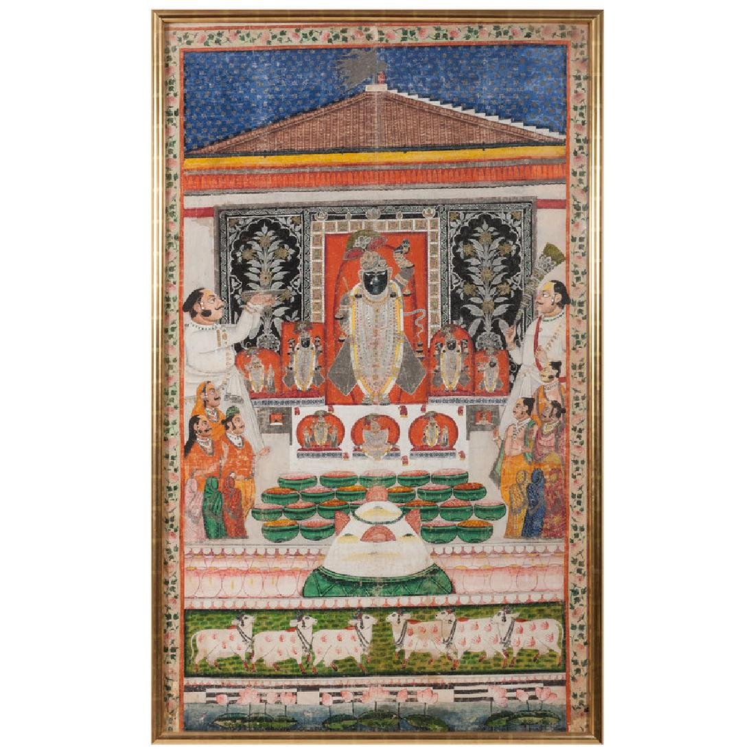 Monumental Indian Painting on Silk