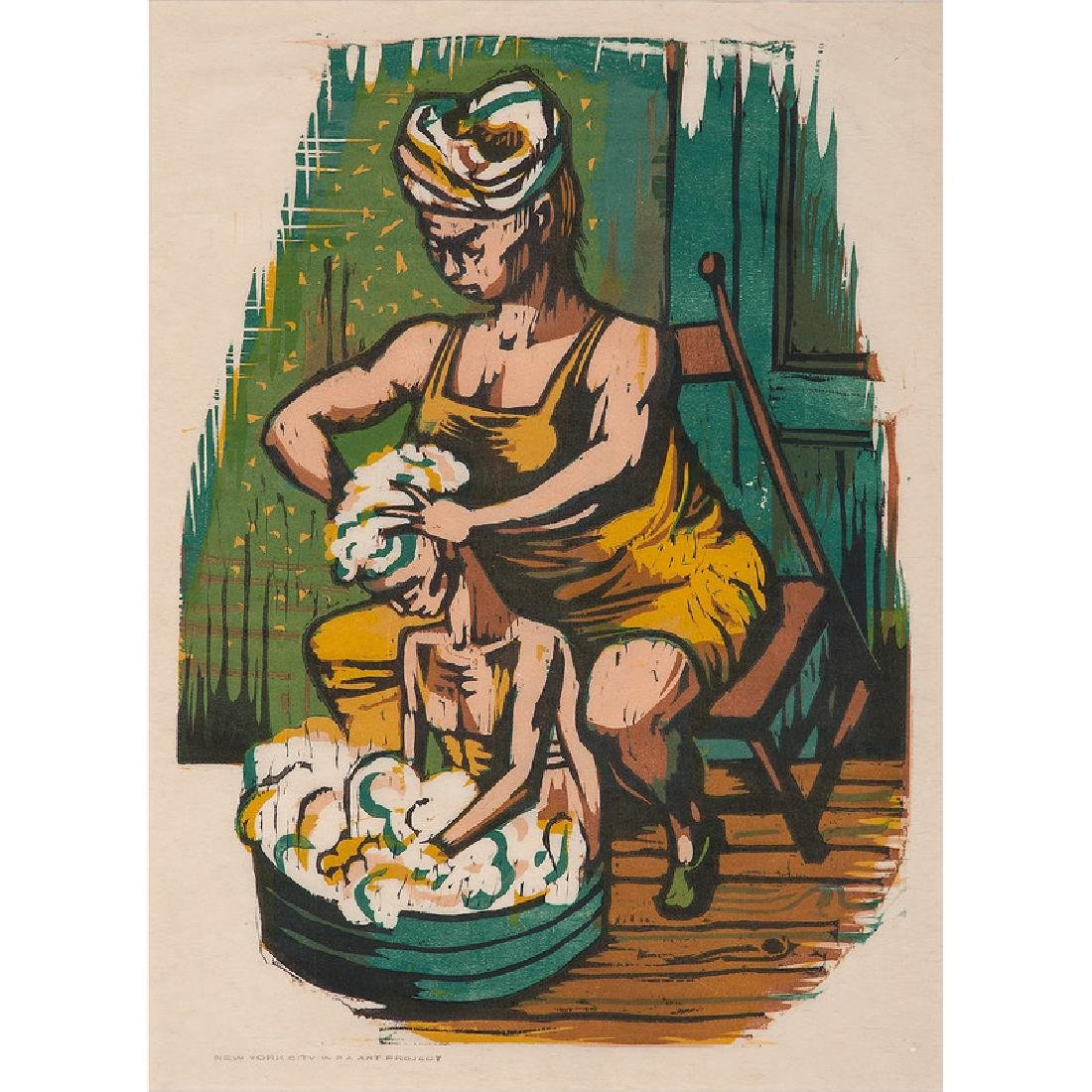 Color Lithograph of a Mother Bathing her Child