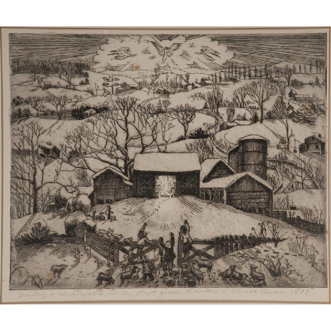 Nativity Scene in Winter Landscape Etching