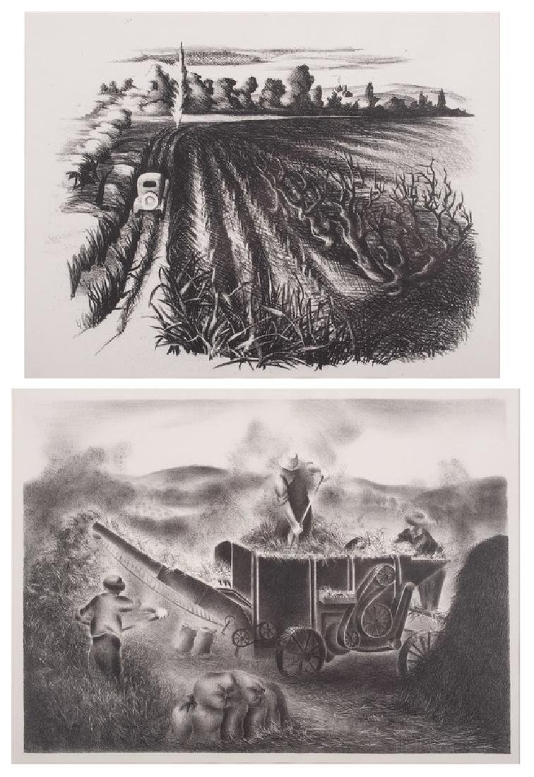 Regionalist Lithographs of Corn and Wheat Fields