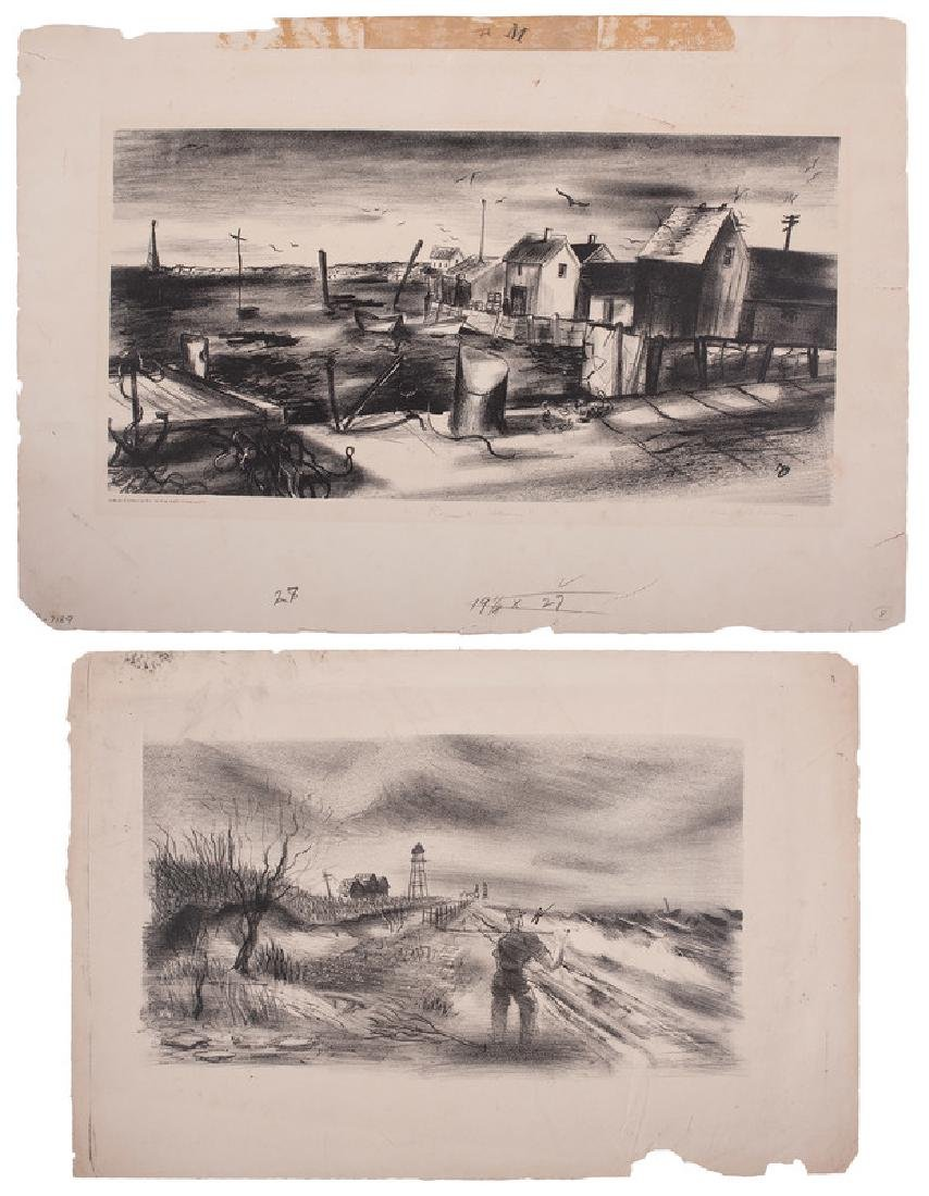 Two Lithographs of Coastal Scenes
