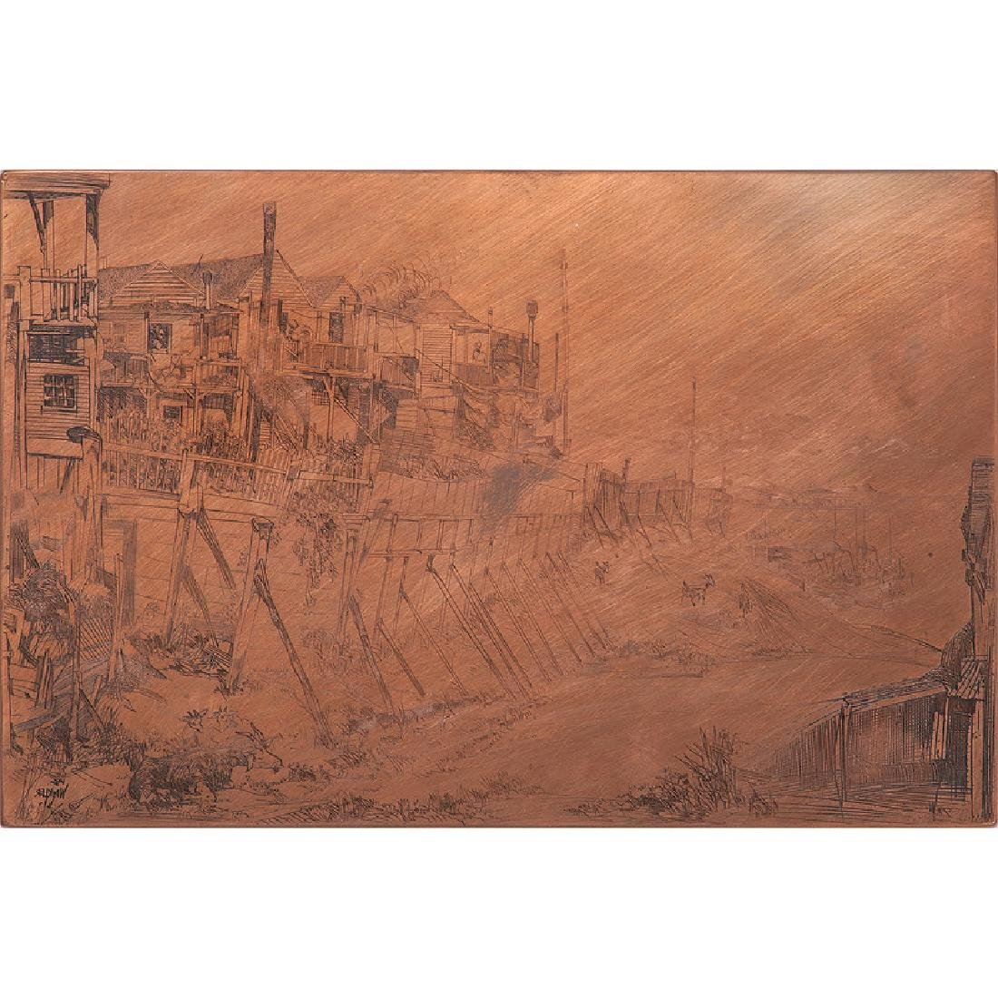 Etching Copper Plate Signed Winkler
