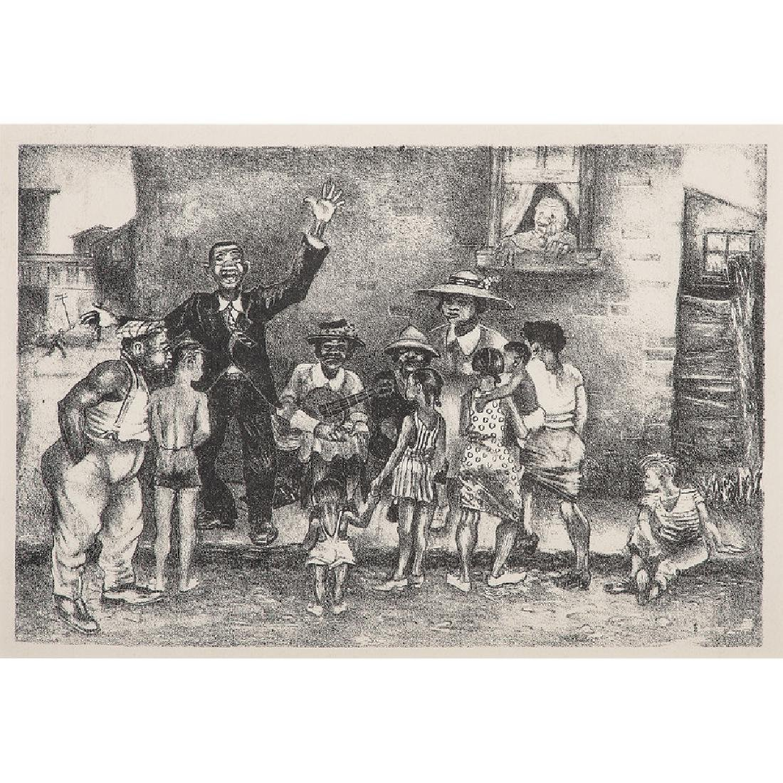 Lithograph of a Street Scene