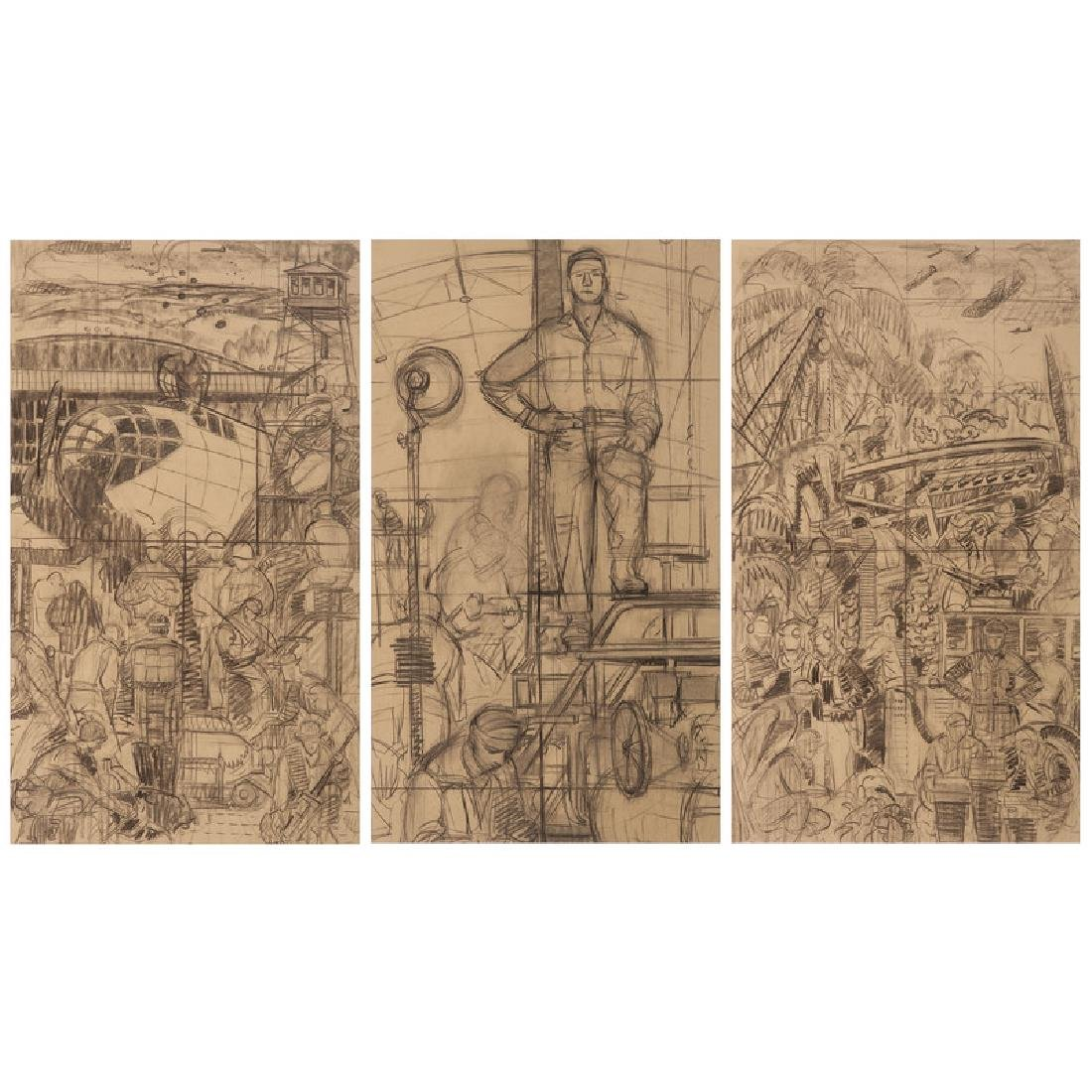 Graphite Sketches for Murals at Pendleton Field Air
