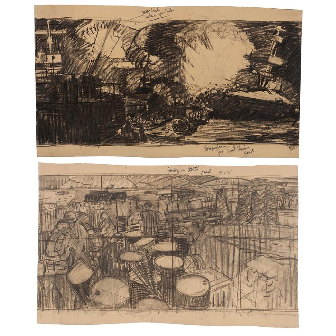 Sketches of Pearl Harbor and Attu Battles for Murals at