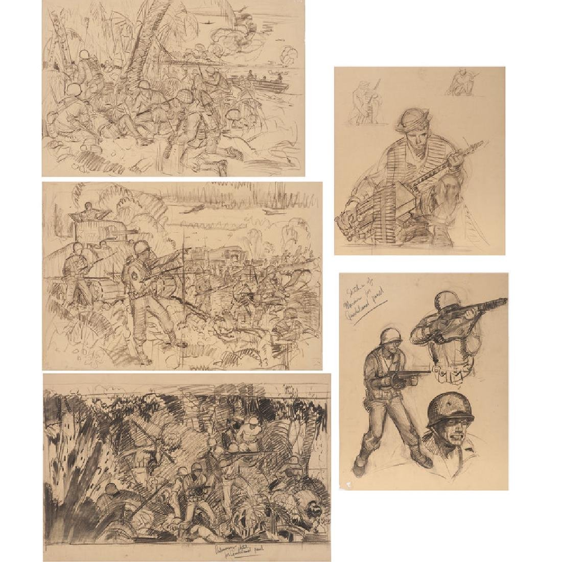 Sketches for the Guadalcanal Campaign Mural at