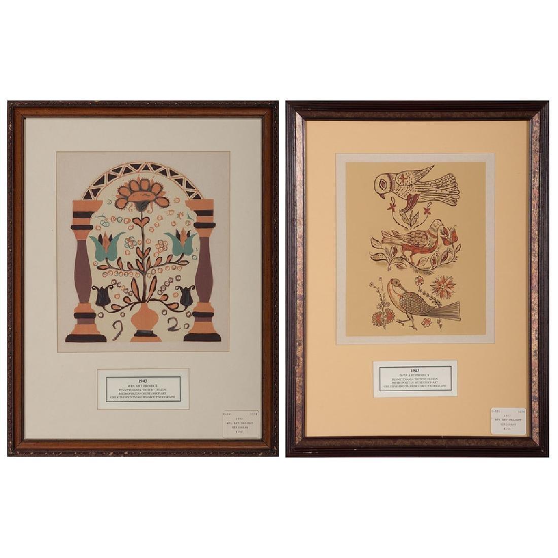 Pennsylvania Dutch Design Serigraphs - 2