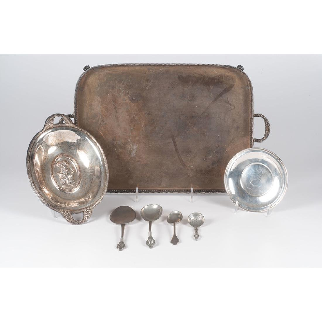 English Silverplate Tray and Danish Pewter, Plus