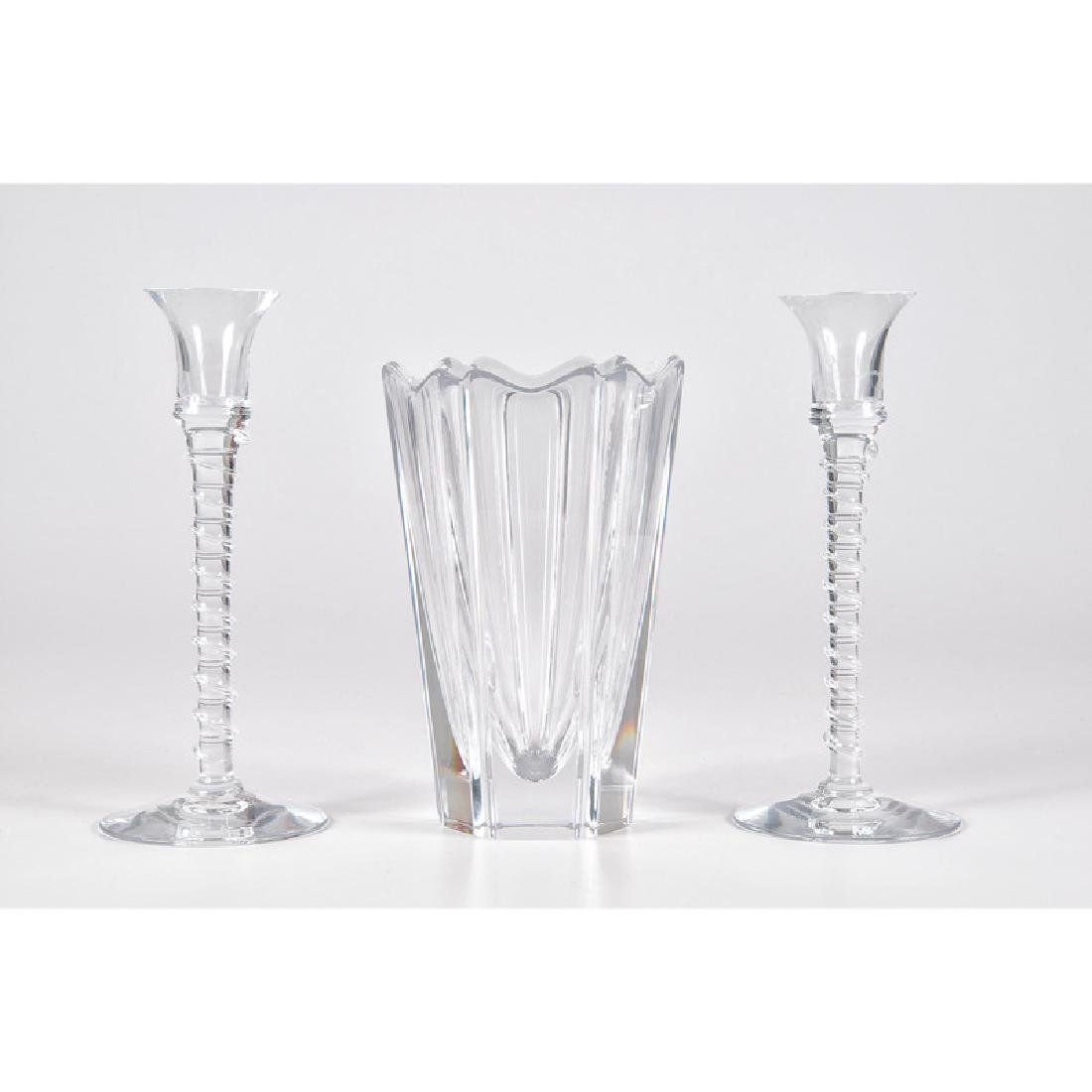 Orrefors Glass Vase and Candlesticks