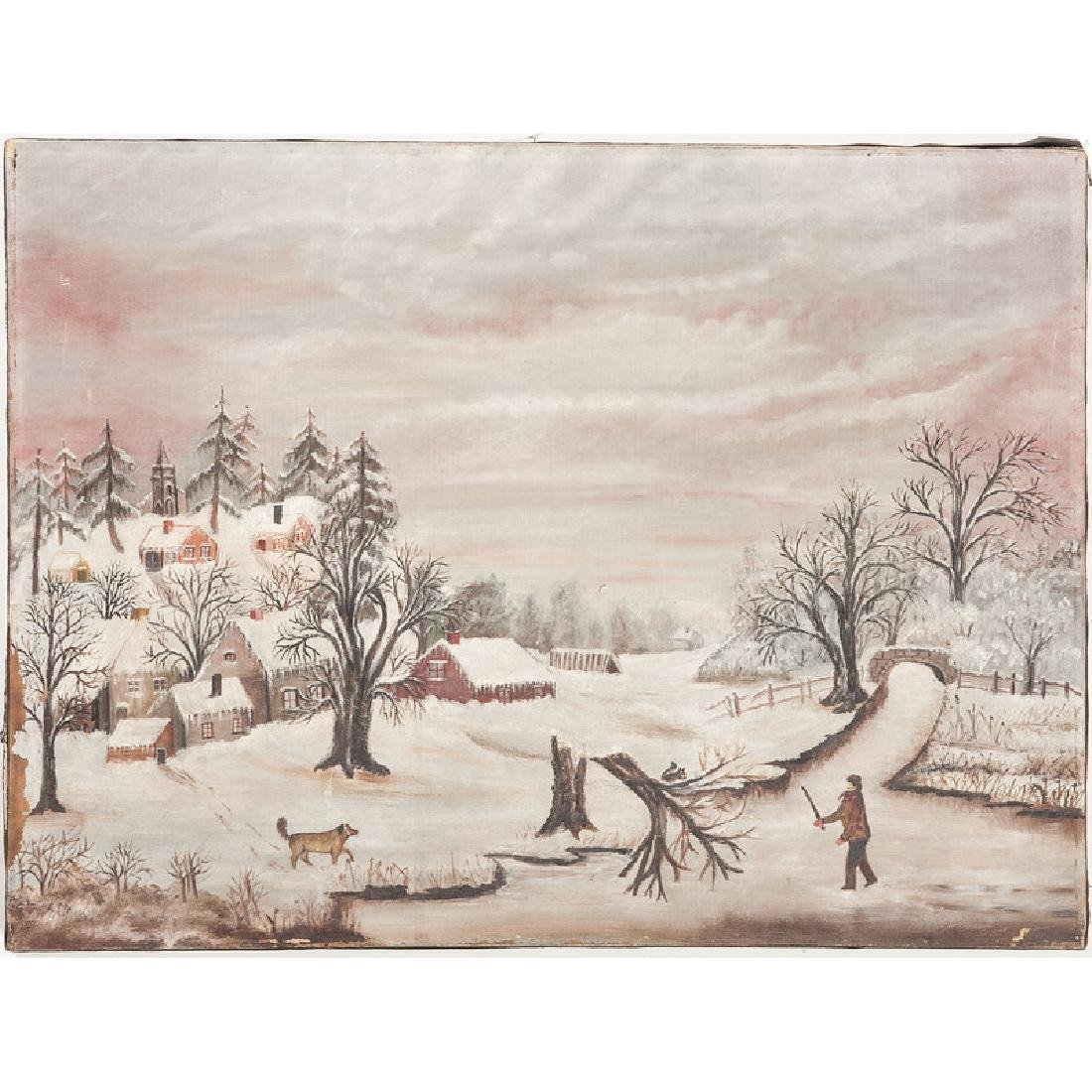Primitive Winter Landscape Painting