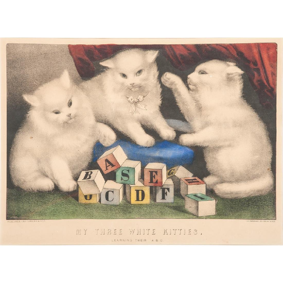 Currier & Ives Cat Themed Hand-Colored Lithographs