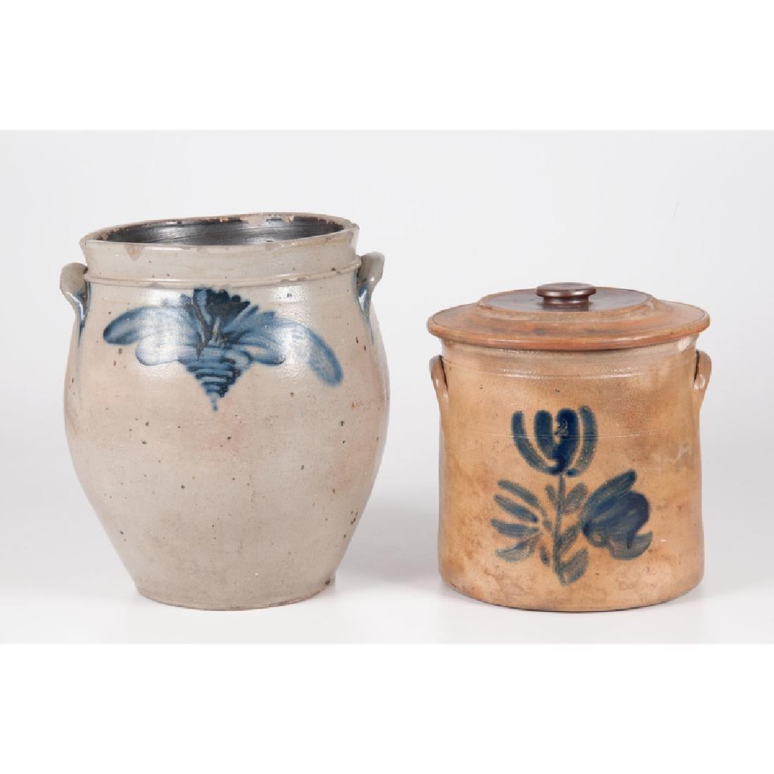 Stoneware Crocks with Cobalt Floral Decoration