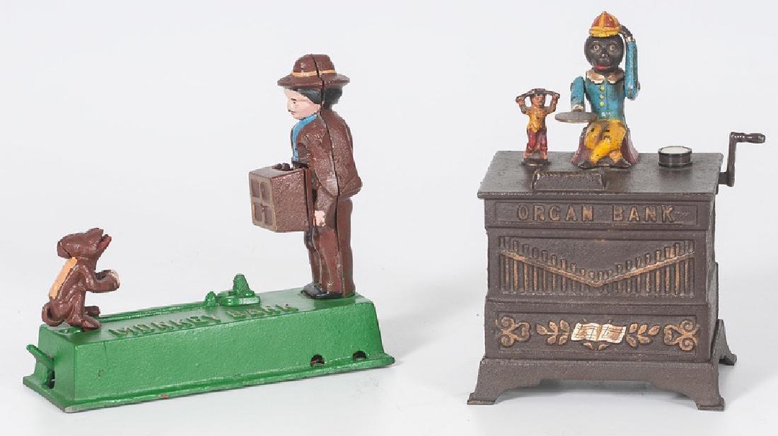 Cast Iron Organ Bank and Monkey Bank