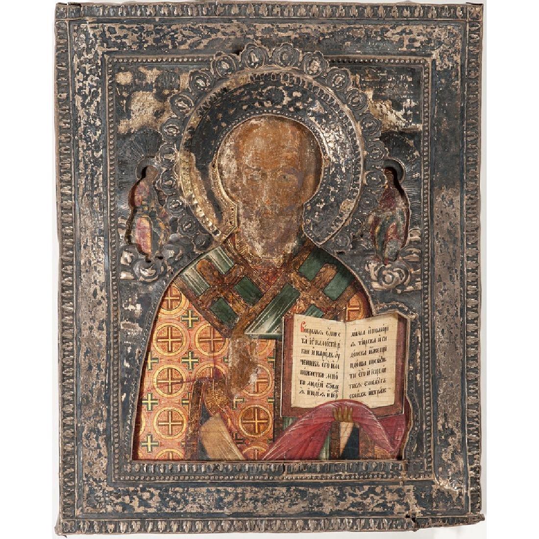 Russian Icon of St. Nicholas with Silver Riza