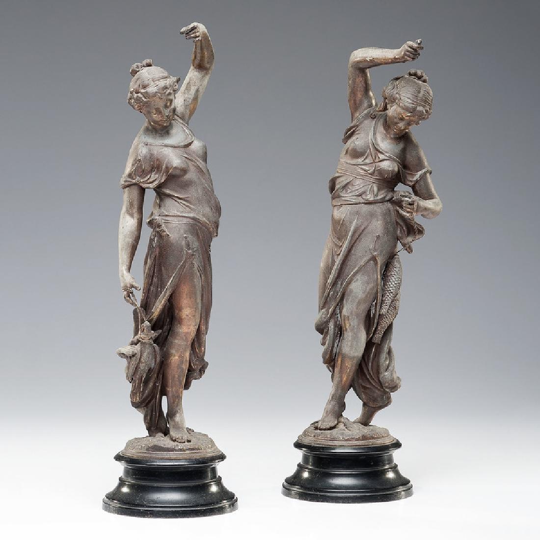 Huntress and Fisher Newel Figures
