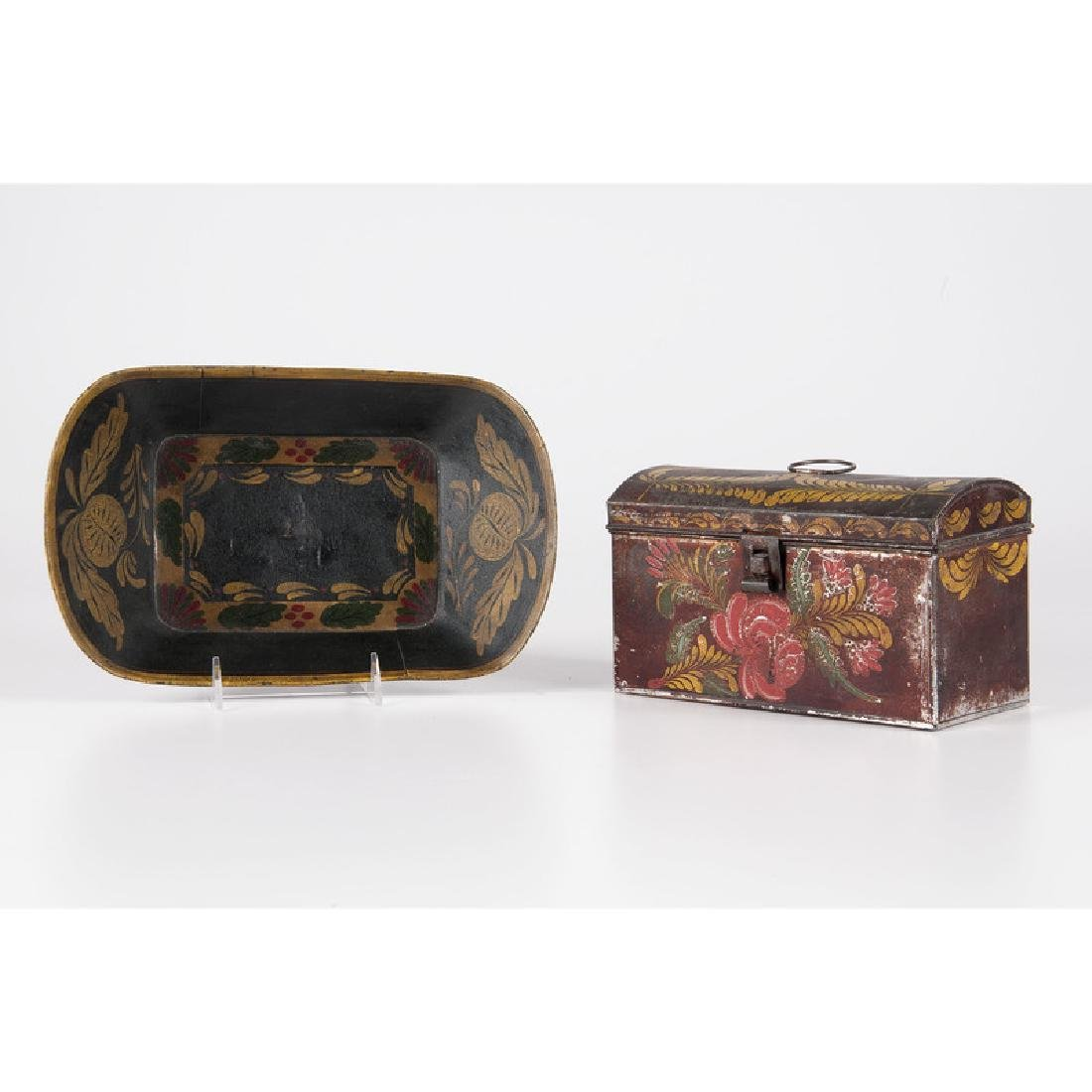 Tole Painted Tray and Box