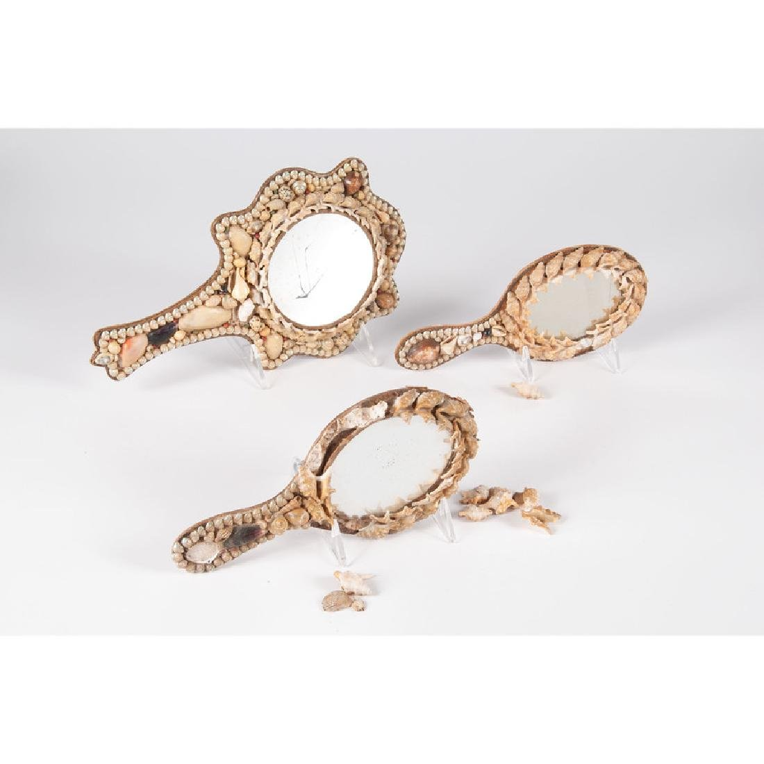 Shell-Decorated Hand Mirrors