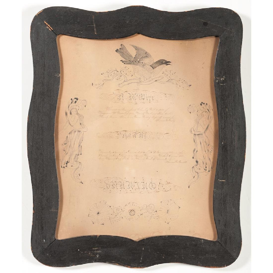 Framed Document with Ink Embellishments